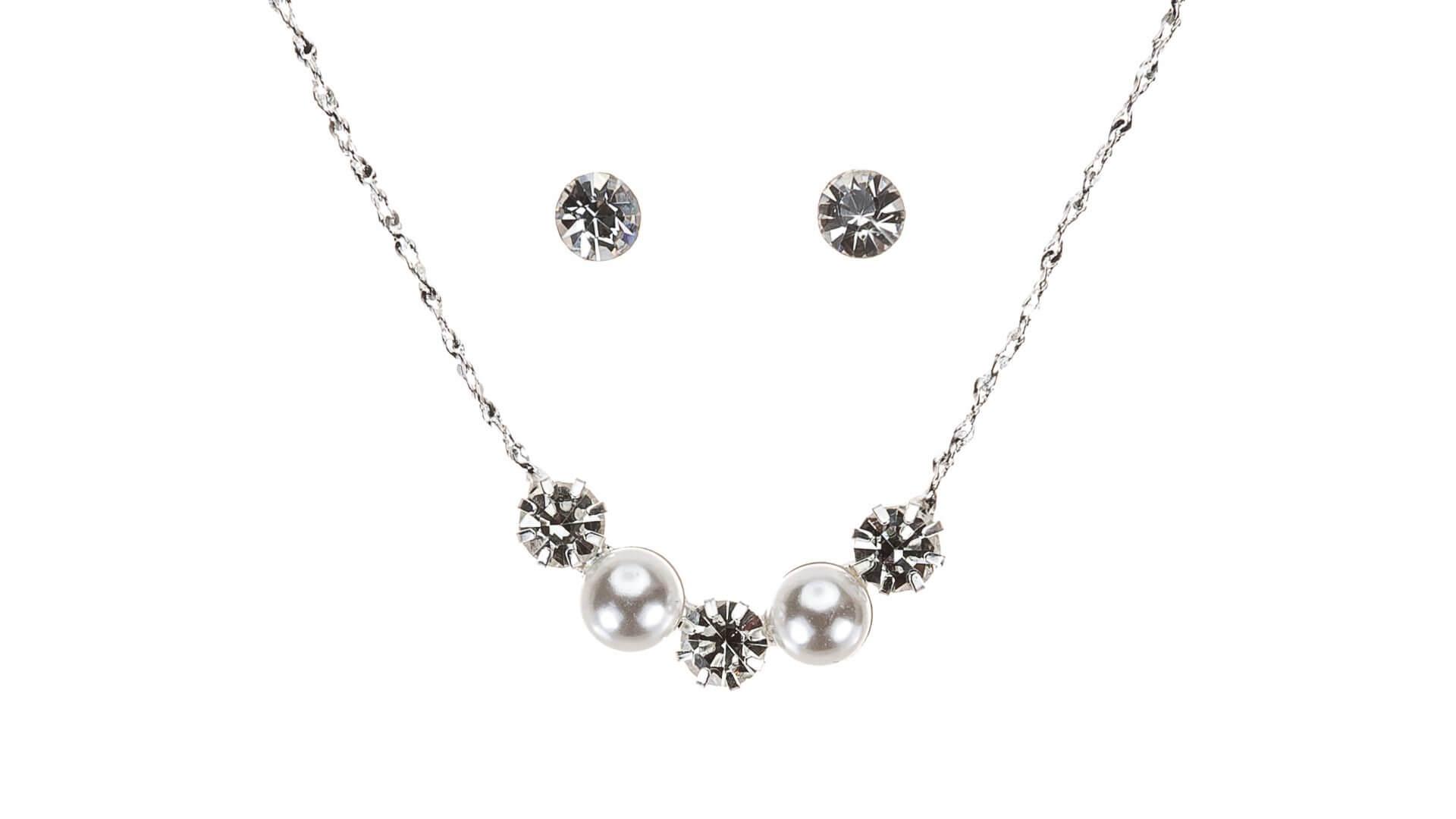 Brautschmuckset mit Halskette und Ohrringe B7200