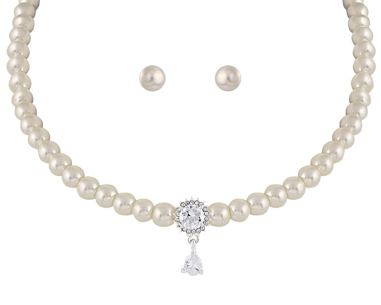 Brautschmuckset mit Halskette und Ohrringe BL7048