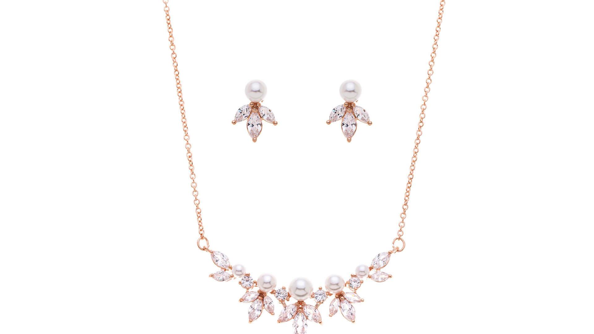 Brautschmuckset mit Halskette und Ohrringe DZ0509RG Rose Gold