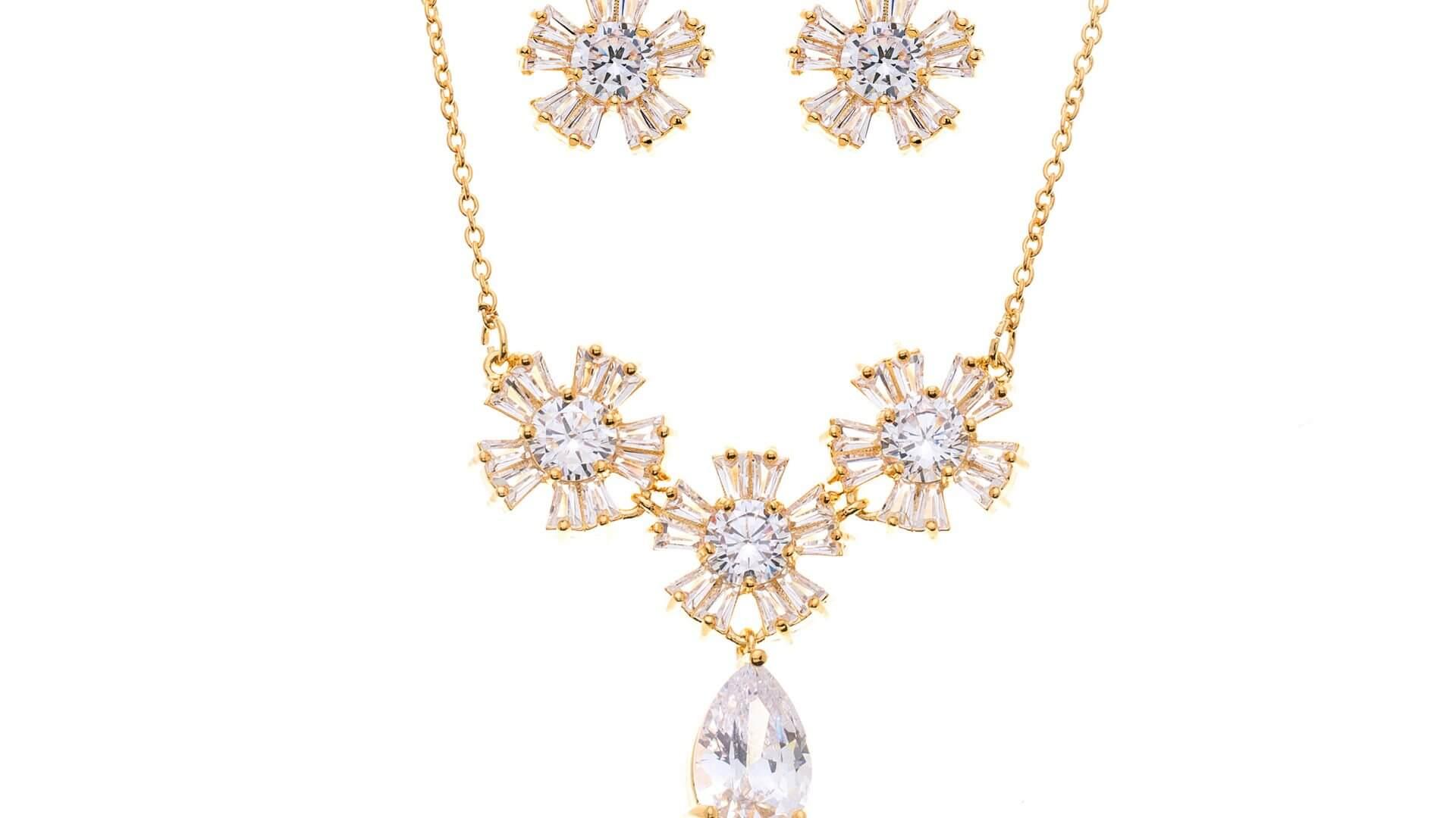Brautschmuckset mit Halskette und Ohrringe DZ0511G