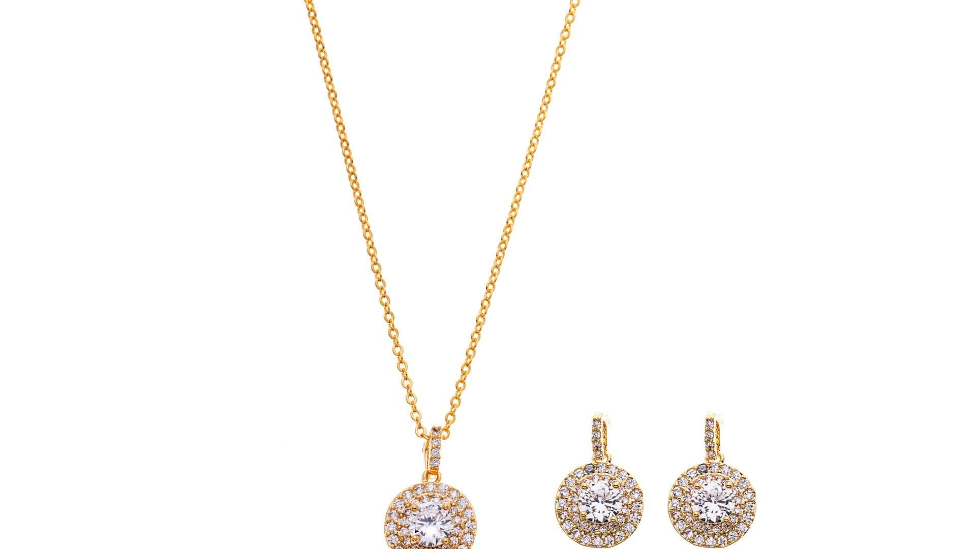 Brautschmuckset mit Halskette und Ohrringe DZ0563G