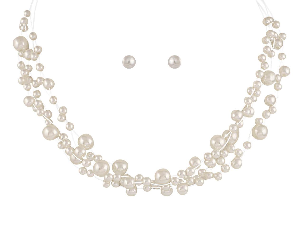Brautschmuckset mit Halskette und Ohrringe HS-J07