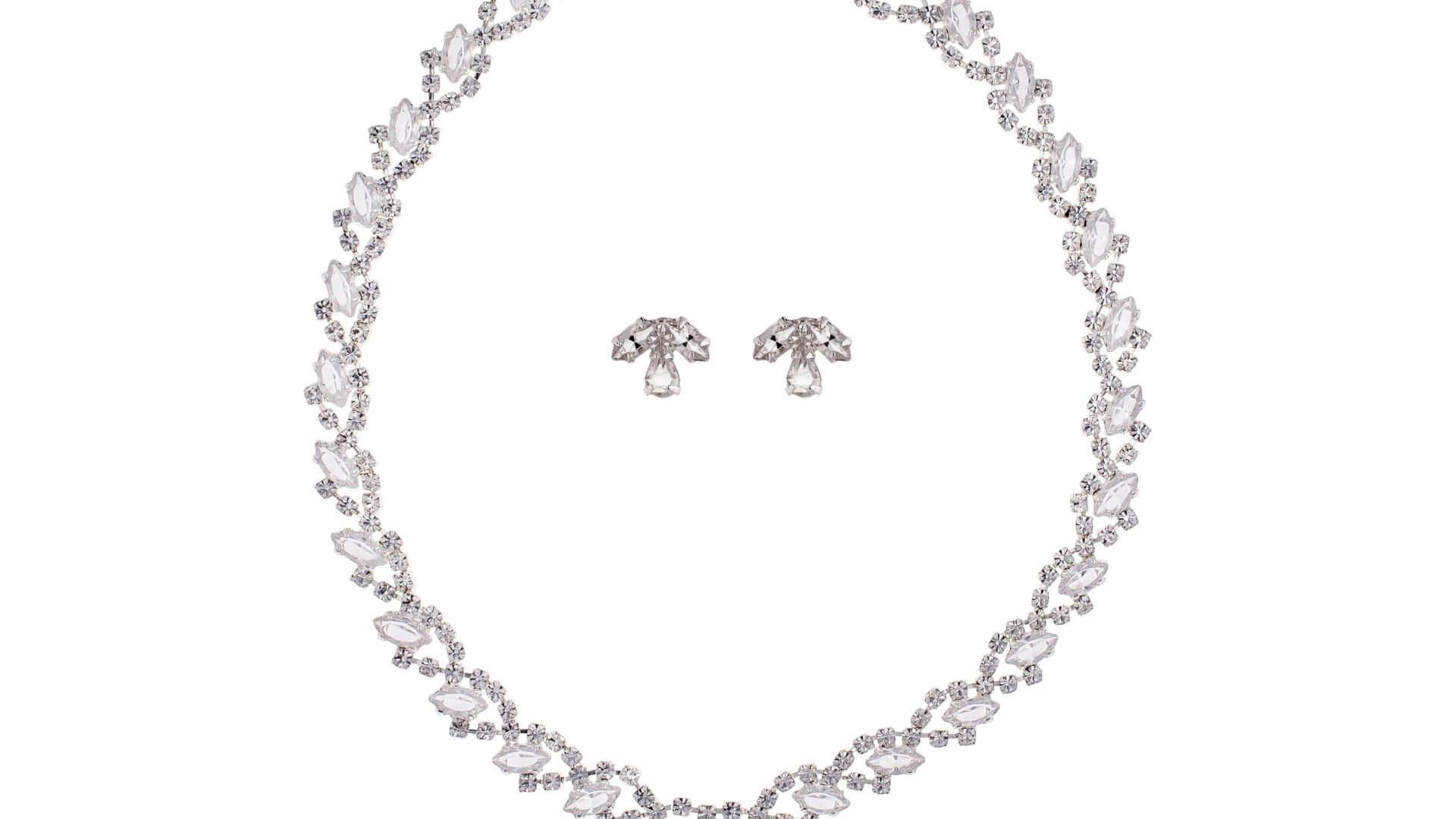 Brautschmuckset mit Halskette und Ohrringe NE0703