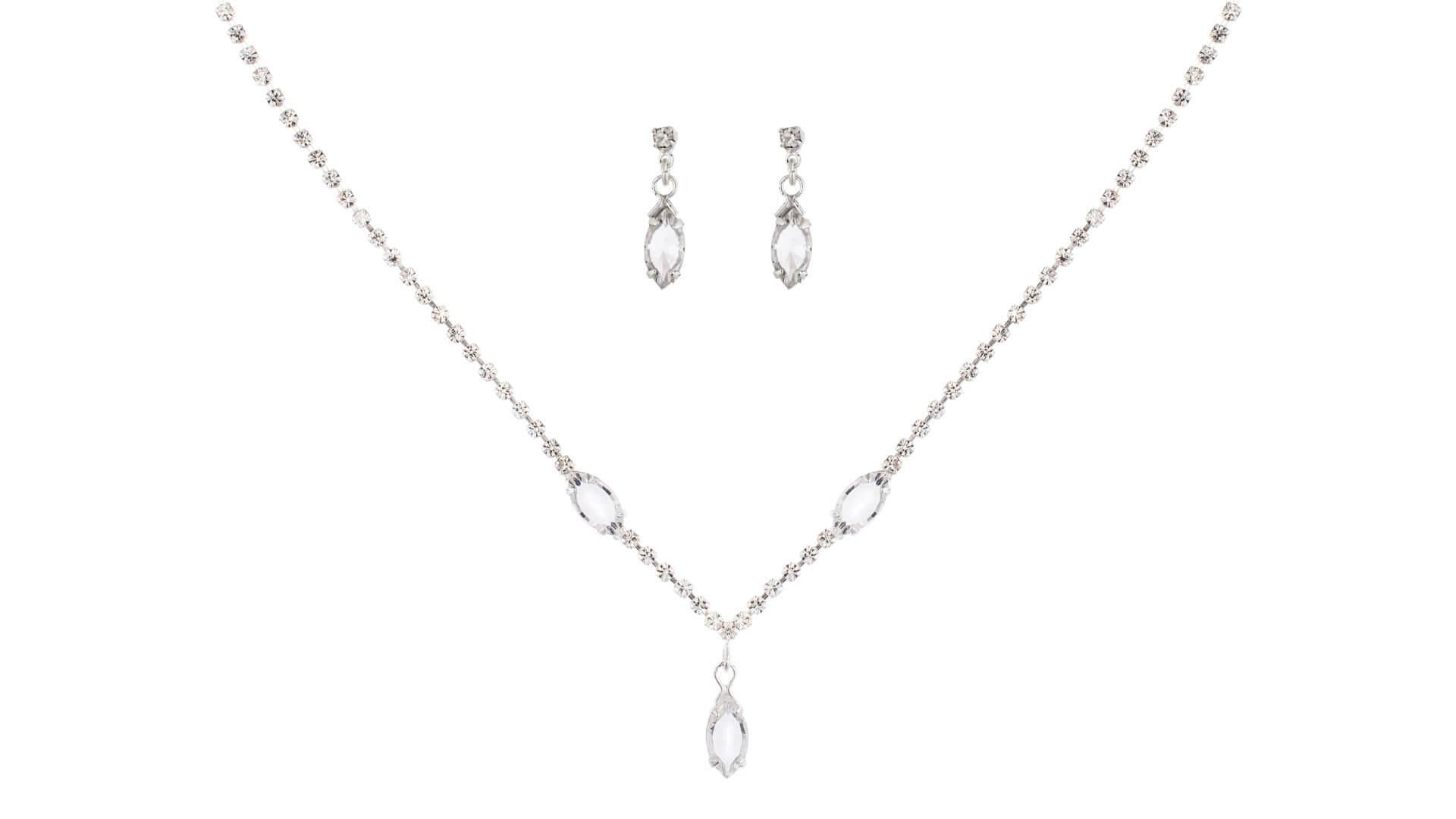 Brautschmuckset mit Halskette und Ohrringe NE2664