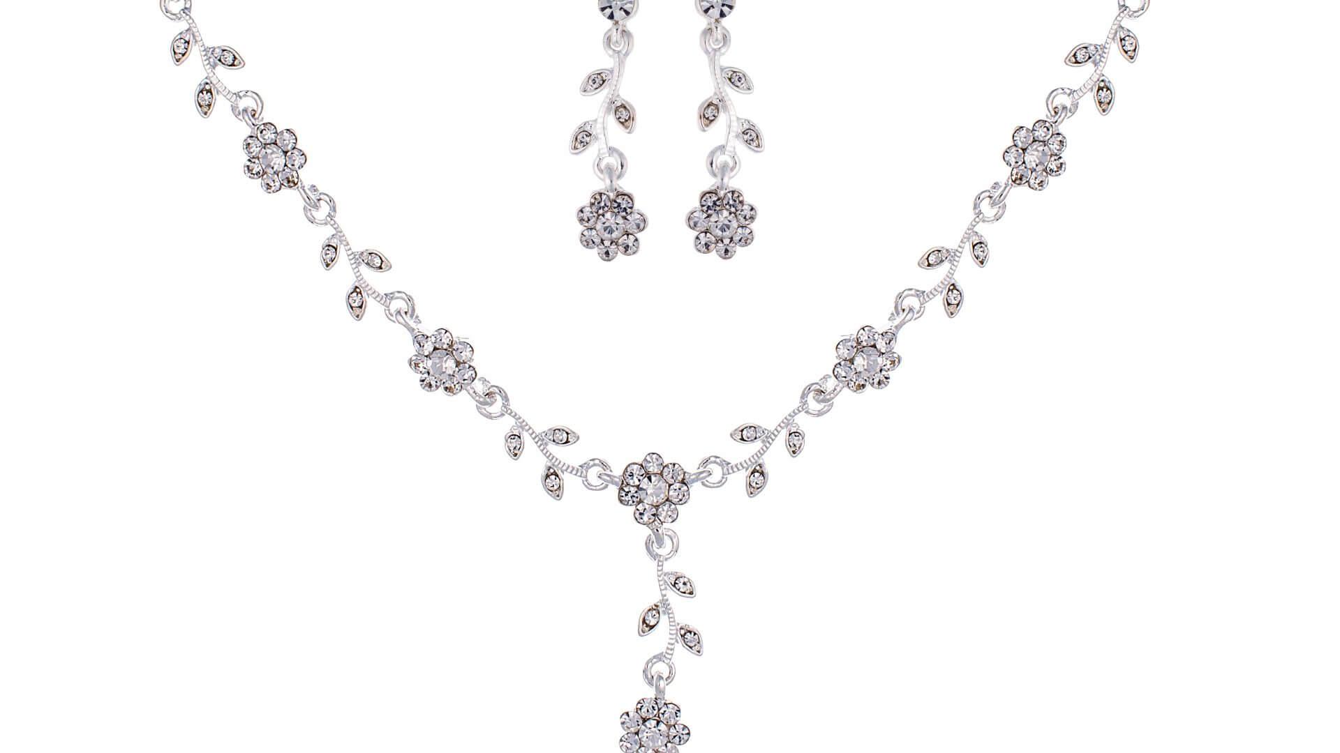 Brautschmuckset mit Halskette und Ohrringe NS-J207