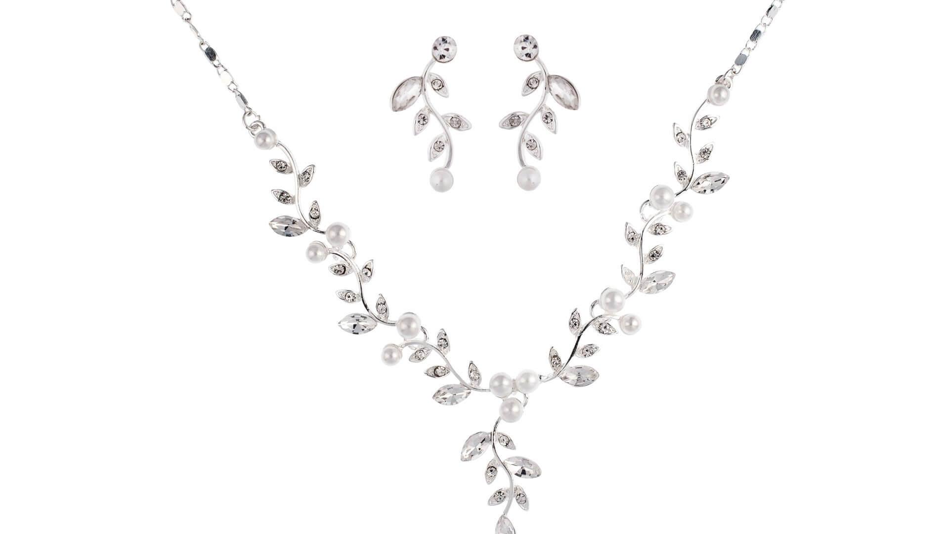 Brautschmuckset mit Halskette und Ohrringe NS1-6005
