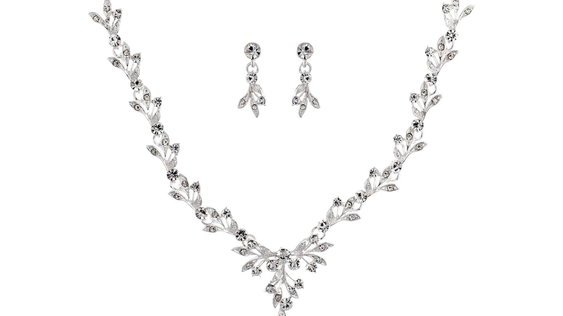 Brautschmuckset mit Halskette und Ohrringe NS1-8686