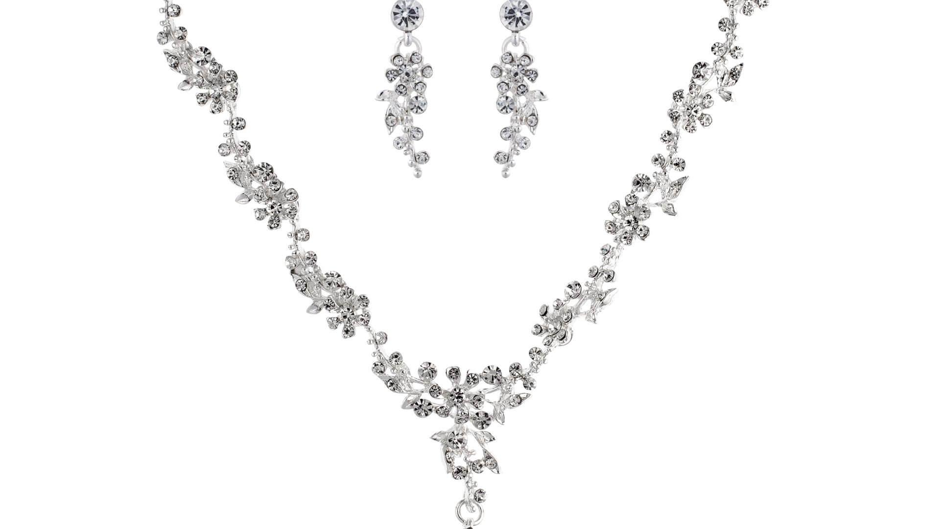 Brautschmuckset mit Halskette und Ohrringe NS1-8714