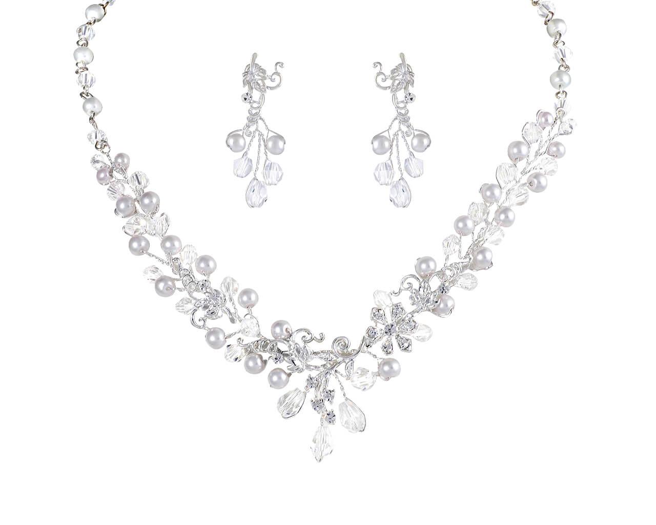 Brautschmuckset mit Halskette und Ohrringe NS2-4023