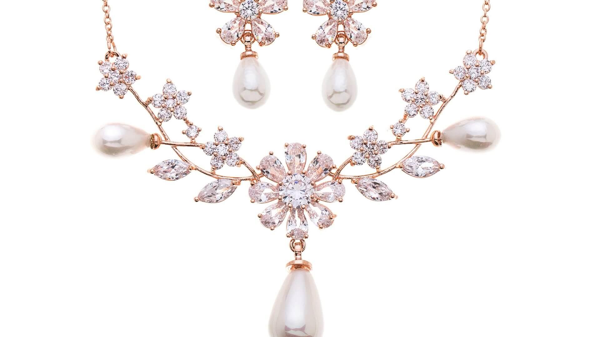 Brautschmuckset mit Halskette und Ohrringe SW0894RG Rose Gold